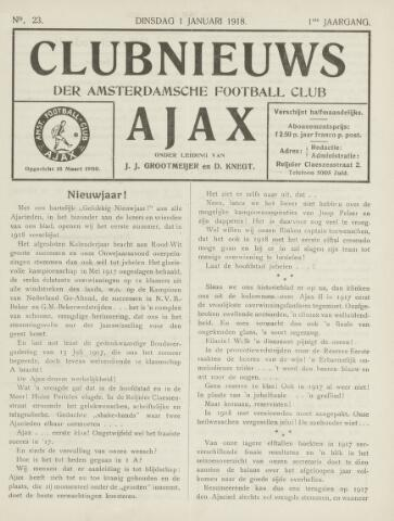 Clubnieuws Ajax (vanaf 1916) 1918-01-01