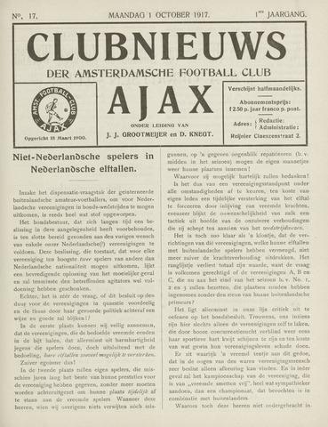 Clubnieuws Ajax (vanaf 1916) 1917-10-01