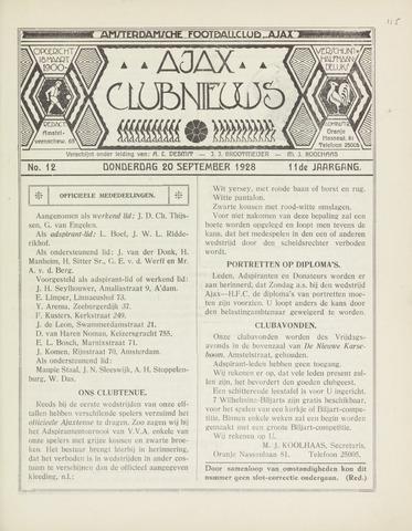 Clubnieuws Ajax (vanaf 1916) 1928-09-20
