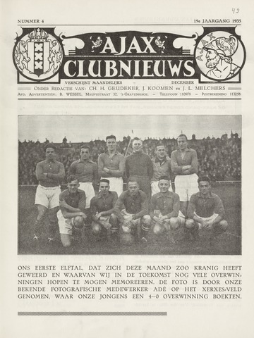 Clubnieuws Ajax (vanaf 1916) 1935-12-01