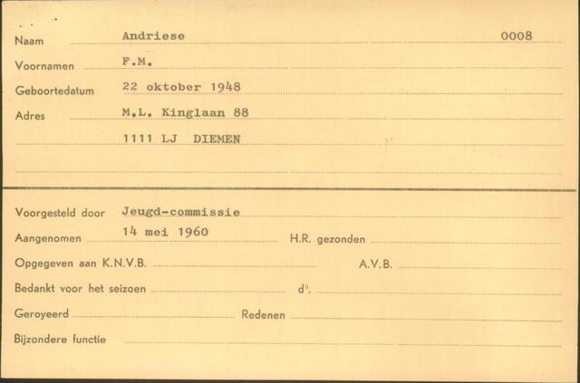 Ledenkaarten (1911-1989) 1960