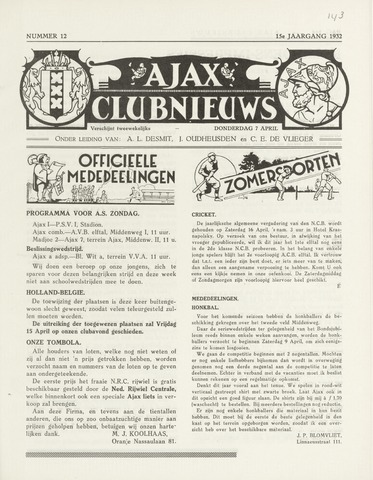 Clubnieuws Ajax (vanaf 1916) 1932-04-07
