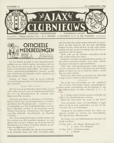 Clubnieuws Ajax (vanaf 1916) 1933-03-08