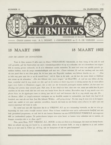 Clubnieuws Ajax (vanaf 1916) 1932-03-17