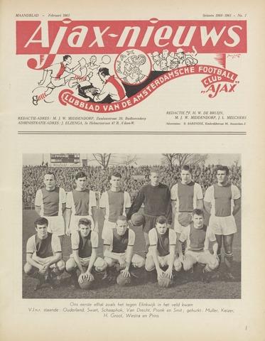 Clubnieuws Ajax (vanaf 1916) 1961-02-01