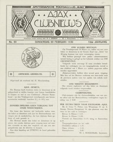 Clubnieuws Ajax (vanaf 1916) 1930-02-20