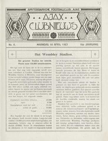 Clubnieuws Ajax (vanaf 1916) 1923-04-16