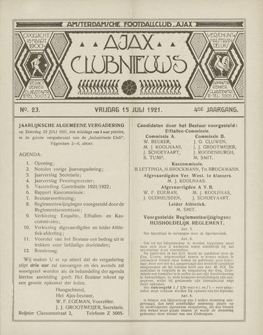 Clubnieuws Ajax (vanaf 1916) 1921-07-15