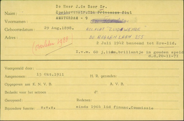 Ledenkaarten (1911-1989) 1911