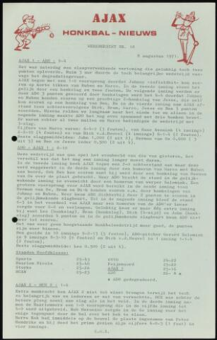 Honkbal nieuws (1963-1972) 1971-08-08