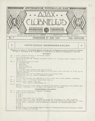 Clubnieuws Ajax (vanaf 1916) 1929-07-01