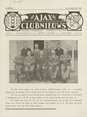 Clubnieuws Ajax (vanaf 1916) 1932-08-25