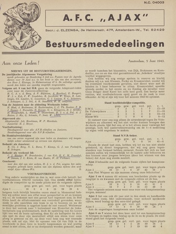 Clubnieuws Ajax (vanaf 1916) 1943-06-05