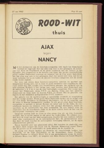 Programmaboekjes (vanaf 1934) 1962-05-27