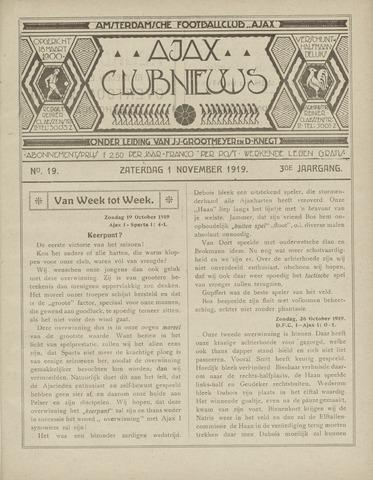 Clubnieuws Ajax (vanaf 1916) 1919-11-01