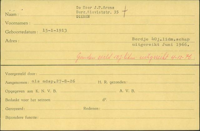 Ledenkaarten (1911-1989) 1926