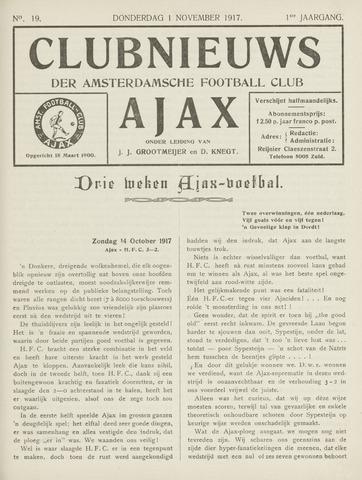 Clubnieuws Ajax (vanaf 1916) 1917-11-01