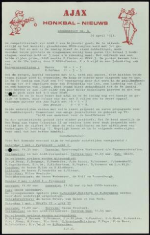 Honkbal nieuws (1963-1972) 1971-04-25
