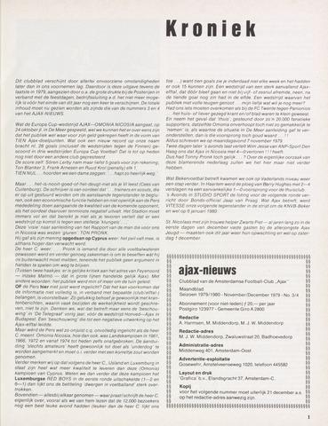 Clubnieuws Ajax (vanaf 1916) 1979-11-01