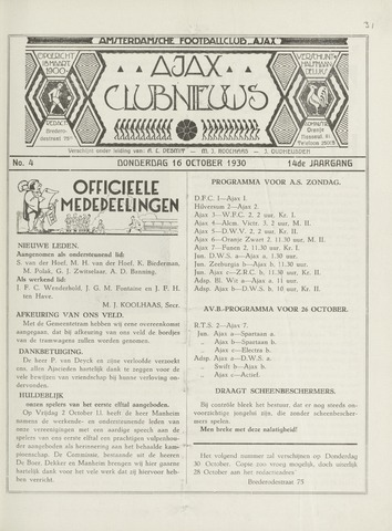 Clubnieuws Ajax (vanaf 1916) 1930-10-16