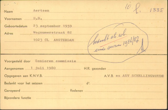 Ledenkaarten (1911-1989) 1980