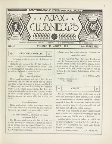 Clubnieuws Ajax (vanaf 1916) 1928-03-30