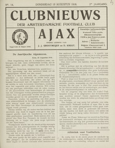 Clubnieuws Ajax (vanaf 1916) 1918-08-15