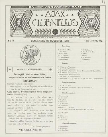 Clubnieuws Ajax (vanaf 1916) 1929-08-29