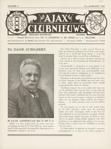 Clubnieuws Ajax (vanaf 1916) 1937-12-01
