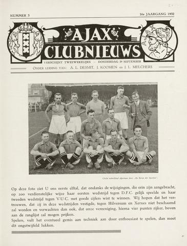 Clubnieuws Ajax (vanaf 1916) 1932-09-29