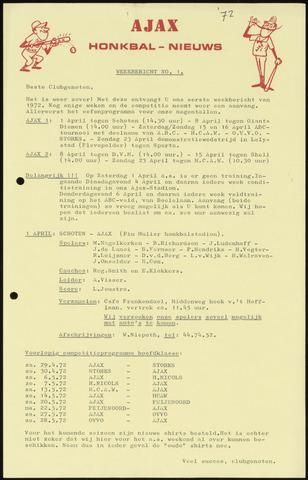 Honkbal nieuws (1963-1972) 1972
