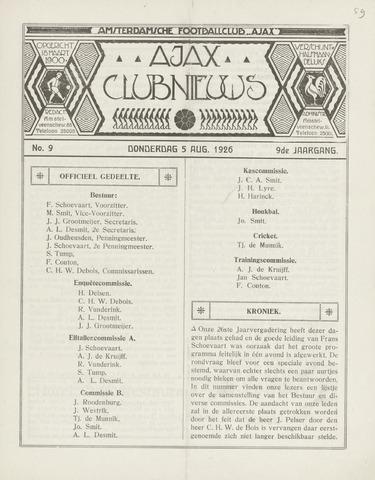 Clubnieuws Ajax (vanaf 1916) 1926-08-05