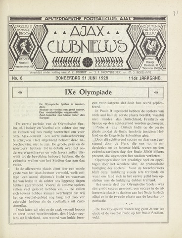 Clubnieuws Ajax (vanaf 1916) 1928-06-21