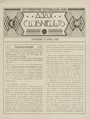 Clubnieuws Ajax (vanaf 1916) 1922-04-15