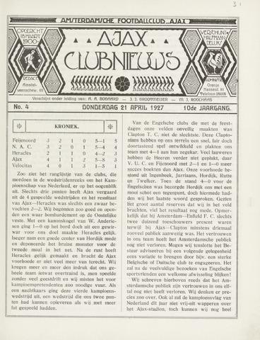 Clubnieuws Ajax (vanaf 1916) 1927-04-21