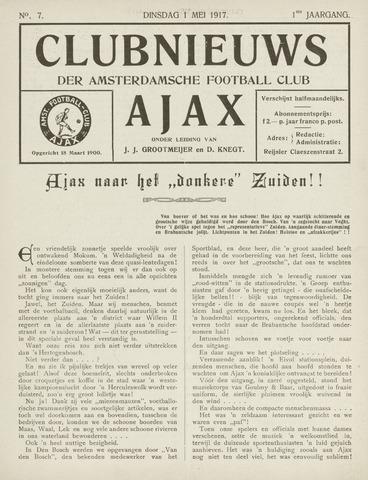 Clubnieuws Ajax (vanaf 1916) 1917-05-01