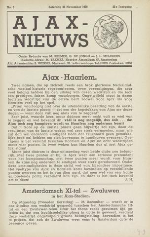 Clubnieuws Ajax (vanaf 1916) 1938-11-26