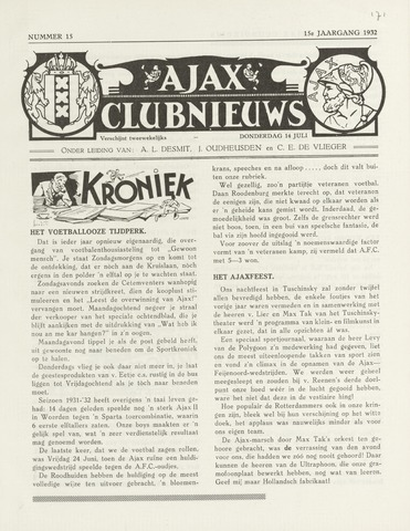 Clubnieuws Ajax (vanaf 1916) 1932-07-14