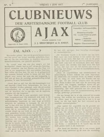 Clubnieuws Ajax (vanaf 1916) 1917-06-01