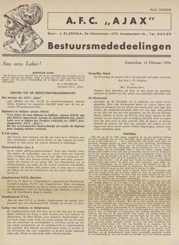 Clubnieuws Ajax (vanaf 1916) 1944-02-12