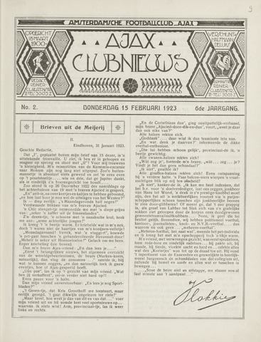 Clubnieuws Ajax (vanaf 1916) 1923-02-15