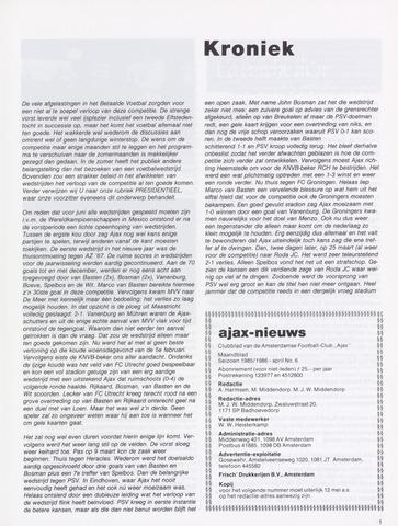 Clubnieuws Ajax (vanaf 1916) 1986-04-01