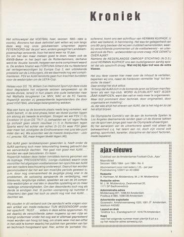 Clubnieuws Ajax (vanaf 1916) 1984-06-01
