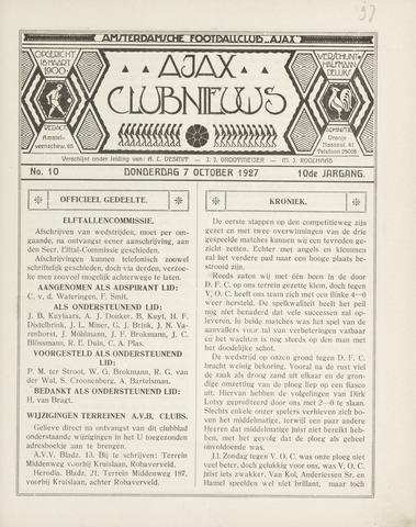Clubnieuws Ajax (vanaf 1916) 1927-10-07