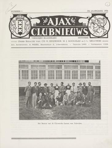 Clubnieuws Ajax (vanaf 1916) 1936-09-01
