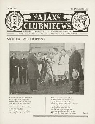 Clubnieuws Ajax (vanaf 1916) 1932-12-22