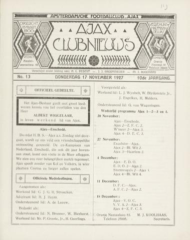 Clubnieuws Ajax (vanaf 1916) 1927-11-17