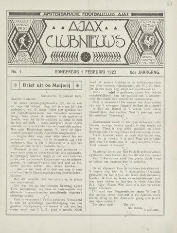Clubnieuws Ajax (vanaf 1916) 1923-02-01