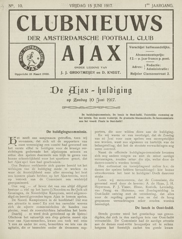 Clubnieuws Ajax (vanaf 1916) 1917-06-07