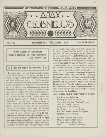 Clubnieuws Ajax (vanaf 1916) 1923-08-01